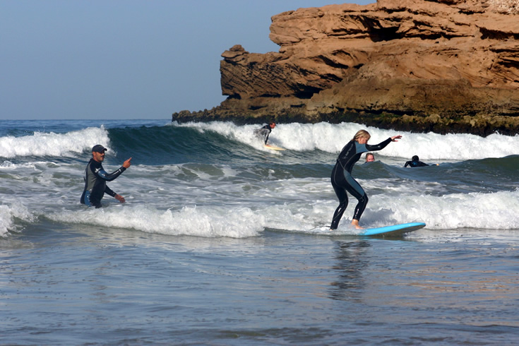 Leaner Surfers on Moroccan Beaches