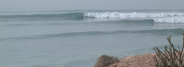 Surfing an empty point break