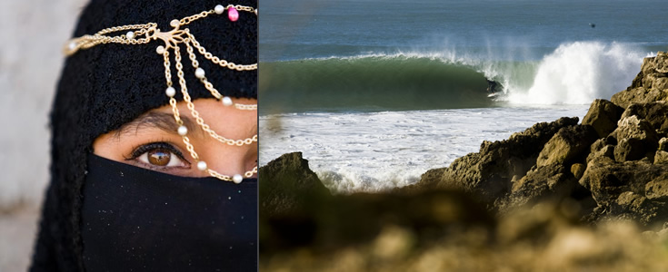 Local Moroccan girl and surf break.