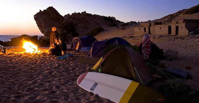 Camping on the beach in Morocco.
