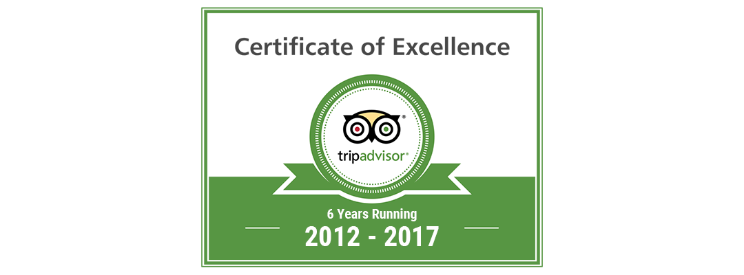 Trip Advisor Certificate of Excellence 2012 - 2017